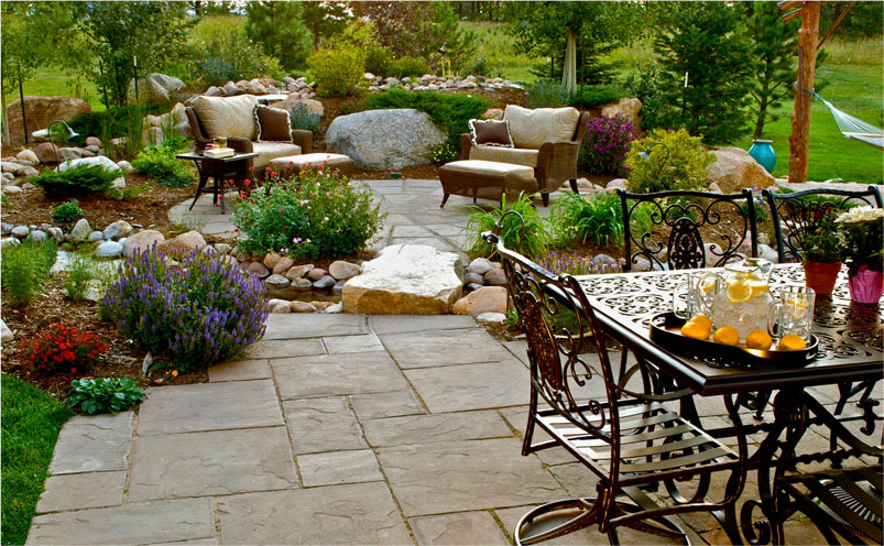patio with landscaping in Colorado Springs